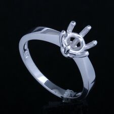Sterling Silver 925 Semi Mount Ring Prong Setting Round 6.5mm Solitaire Wedding