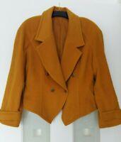 Vintage Women Yellow Jacket Coat Blazer Size 14 Angora Wool Blended