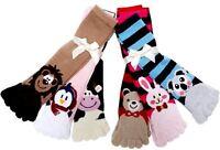 6 Pairs Fuzzy Animals Toe Socks Calf Length Funny Feet Striped #30701 Size 9-11