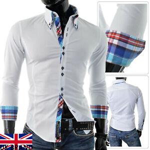 Mens Italian Design Shirt Casual Formal Classic Collar Slim White Smart Check