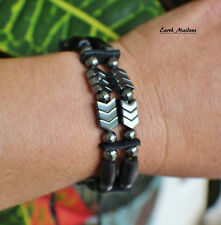 Native American Bracelet w/ Hematite 2std Cherokee made William Lattie Cert Auth