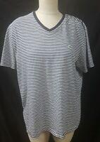 Lacoste Blue White Striped V Neck T Shirt Size XL 7  Short Sleeve 100% Cotton