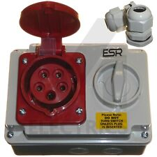 Interlocked Switched Socket 415 Volt 16A 32A 4 Pin 5 Pin Red IP44 3 Phase 415v