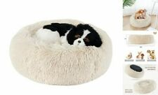 """Calming Dog Bed Cat Bed, Round Donut Dog Bed, Anti-Slip Small(20""""x20"""") Beige"""
