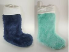 Bundle Of 2 Christmas Stockings Blue Fuzzy