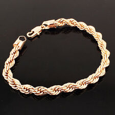 """FIN003-8.27"""" Gold Filled Womens/Mens Fashion Rope Chain Charm Bracelet  6mm Wide"""