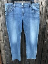 NWT $210 7 For All Mankind Slimmy Slim Straight Jeans Denim Blue Sz 40x34