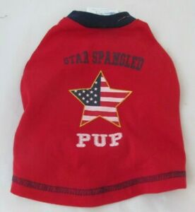 Top Paw Size Small Dog Star Spangled Pup Shirt Red White Blue New Sizes XS S XL