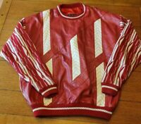 Vintage Bagazio Leather Cable Knit Red White Pullover Crewneck Sweater Men's XL