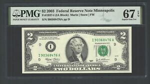 United State -Federal Reserve Note 2 Dollars 2003 Fr1937-I (IA Block) Grade 67