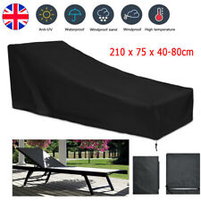 Black Waterproof Cover Lounger Heavy Duty Rattan Sun Garden Furniture Cover 1/2x