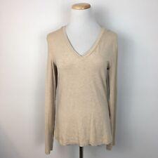 Gap Women's Light Brown Longsleeve V-Neck Stretch Fit Shirt Top Size Medium