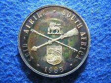 Beautiful Iridescent Toned Proof 1985 South Africa Silver Rand