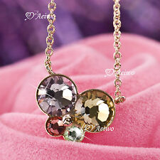 18K ROSE GOLD FILLED CRYSTAL COLORFUL BUTTERFLY PENDANT NECKLACE
