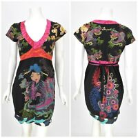 Womens Desigual Ohdrams Dress Japanese Style Multicolor Cotton Belted Size L