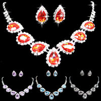 Prom Wedding Bridal Crystal Rhinestone Waterdrop Necklace Earring Jewelry Set So