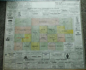 """ANTIQUE PLAT MAP TAYLOR COUNTY WISCONSIN 32"""" X 32"""" 1916 ORIGINAL OLD ADS MEDFORD"""