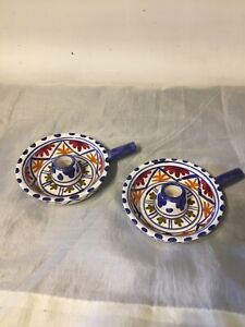 Vintage Studio Pottery Spanish? 2 X Candle Holders 17/A