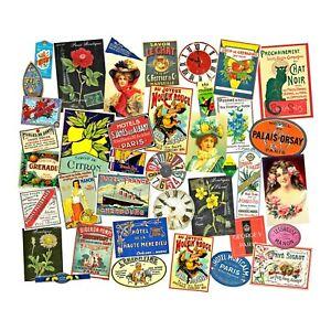 Paris France Labels, 3 Sticker Sheets, Vintage European, Victorian Label Set