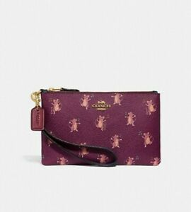 🍀NWT COACH  Mouse Party Print  Wristlet Clutch New Collection Limited Edition