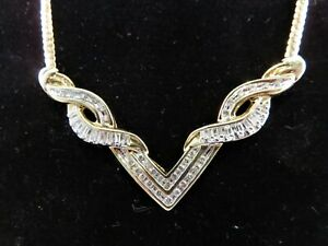 1.0CT Gorgeous Diamond Necklace 14K Solid Yellow Gold. 49cm Incl V of 7cm
