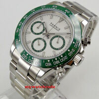 39mm PARNIS white dial green ceramic bezel full Chronograph quartz mens watch