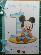 Personalised Hand made A4 Baby(Boy) Mickey Mouse 1st Birthday card