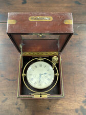 Antique Waltham 8 Day Marine Chronometer In Mahogany Box