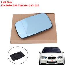 Left Side Mirror Glass For BMW E39 E46 320i 330i 325 Blue Tinted W/Holder Heated