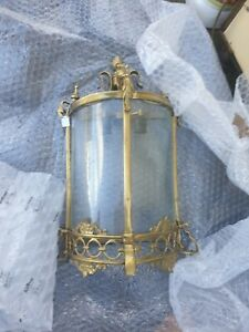 Antique Vintage Brass Wall Sconce Lights lamp hall church  etched glass 1 of 2