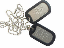 "MILITARY DULL  DOG TAGS Army DogTags  2 x Chains 26"" & 4.5""  PERSONALISED FREE !"