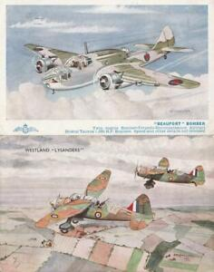 Two WW2  BEAUFORT Bomber and WESTLAND LYSANDER Aircraft  Postcards