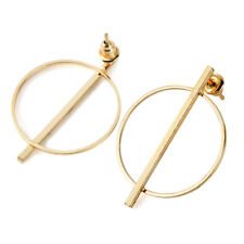 Big Circle Smooth Large Ring Fashion Women Gold Silver Hyperbole Earring Chic