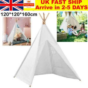160CM Large Children Tent Canvas Teepee Kids Wigwam Indoor Outdoor Play House UK