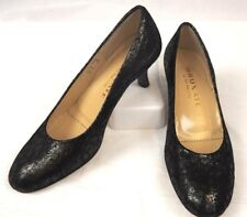 BRUNATE Black & Shimmering Tan Fabric Leather Heels - Sz 38 8 - Italy