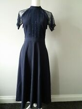 Liquorish Ladies Navy A-Line Midi Dress Fit & Flare Zip Lace Sleeves UK Size 8