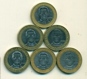 6 BI-METAL 5 PESO COINS..the DOMINICAN REPUBLIC..1997/2002/2007/2008/2010/2016