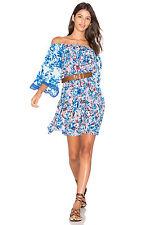 NWT Rokoko Sand romantische Florals Seide Print bestickt Kaftan Blau Kleid-Kleine