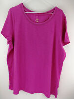 C. Wonder Essentials Slub Knit Short Sleeve T-Shirt Pink Geranium XL A289693