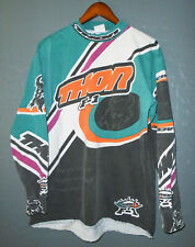 Vtg 90s THOR F-1 RaceWare Jersey T-Shirt Multi Color Cotton Racing Tee Mens LG