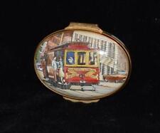 "Halcyon Days ""San Francisco Street Car / Trolley� Oval Trinket Box -Exc"