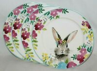 "Ciroa Easter Bunny Rabbit Floral Porcelain 8"" Salad Plates Set of Four New"