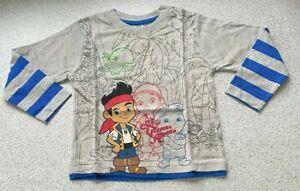 BOYS New DISNEY JAKE & NEVERLAND PIRATES Long Sleeve Top T Shirt GREY 18 / 24 m