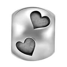 Lovelinks Bead Sterling Silver, Hearts Charm Jewelry Oxidised Silver TT541