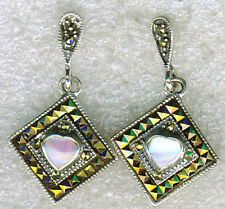 925 Sterling Silver Pink Mother of Pearl & & Marcasite Drop / Dangle Earrings