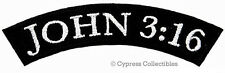 JOHN 3:16 ROCKER EMBROIDERED PATCH CHRISTIAN RELIGIOUS iron-on BIBLE VERSE JESUS