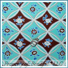 BonEful Fabric FQ Cotton Quilt Aqua Blue Brown White Flower Shabby Chic Cottage
