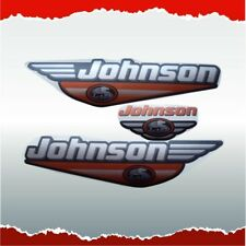 3x SILVER JOHNSON KIT VINYL DECALS STICKERS OUTBOARD