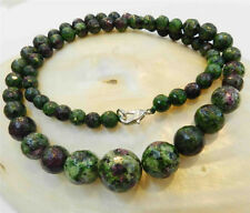"""Faceted 6-14mm Red Green Ruby Zoisite Round Beads Necklace 18""""AAAAR"""