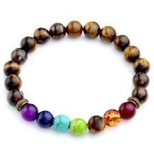 Mens Womens Tiger's Eye 7 Chakra Gemstone Bead Buddhist Prayer Bracelet Gift